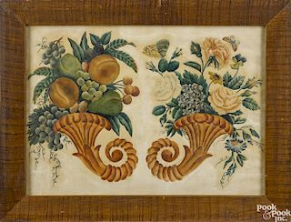 New England watercolor theorem of two cornucopias, 19th c., retaining a period painted frame