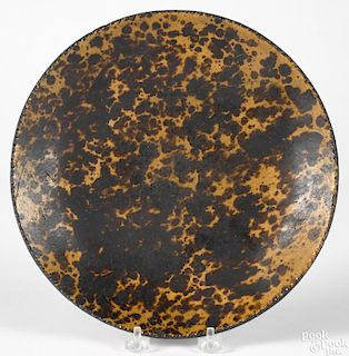 Large Johnsonville, Pennsylvania redware plate, 19th c., with mottled brown and orange glaze