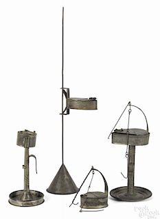 Tin fat lamp with a stand, 19th c., 11 1/4'' h., together with an adjustable Betty lamp