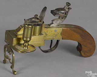 English brass pistol tinder lighter, 19th c., signed Twigg, 6 3/4'' l.