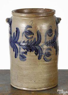 Mid-Atlantic two-gallon stoneware crock, 19th c., probably Virginia