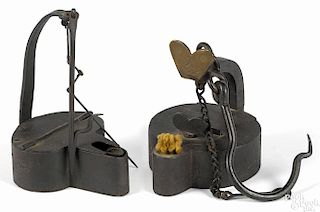 Henry Boker iron miner's lamp, 19th c., together with an unsigned fat lamp, 4'' h. and 5 1/4'' h.