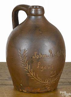 New York stoneware miniature presentation jug, dated 1892, inscribed John Rolhloff Lyons NY