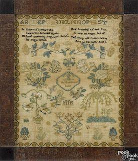 Chester County, Pennsylvania silk on linen sampler, early 19th c., 19 1/2'' x 16''.