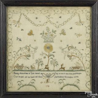 English silk on gauze sampler, dated 1789, 12 1/4'' x 12 1/4''.