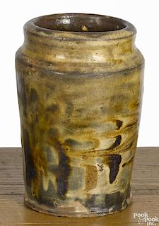 American redware jar, 19th c., probably Ohio, with a marbleized glaze, 6 3/4'' h.