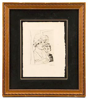 "Max Beckmann ""Dame with Knabe"", Pencil Signed"