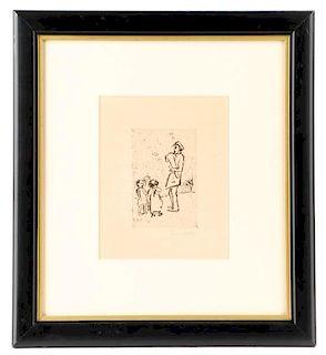 E. Nolde 1909 Etching, Kinder und Strassenmusikant
