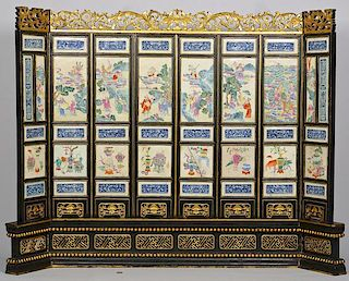 Chinese Famille Rose Plaque Screen