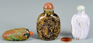 3 Chinese Snuff Bottles inc. Cicada