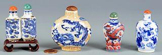 4 Chinese Blue & White Porcelain Snuff Bottles