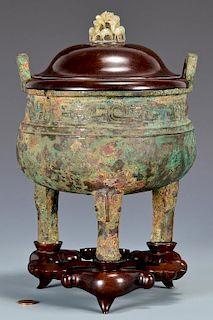 Chinese Archaistic Bronze Censer, Jade Finial