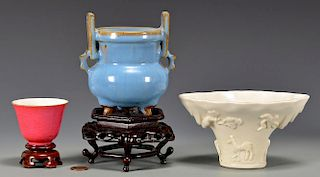3 Chinese Porcelain Items, Cups & Vase