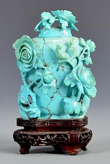 Qing Carved Turquoise Snuff Bottle