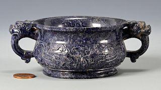 Lapis carved bowl or censer