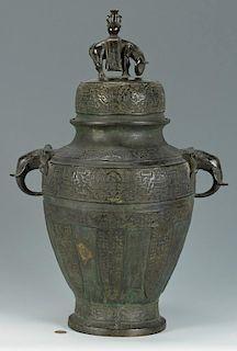 Large Chinese Bronze Lidded Urn w/ Elephants