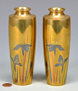 Pr. Meiji Bronze Vases by Mitsunobu