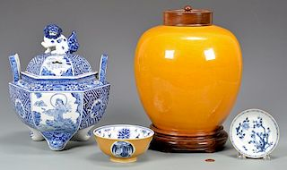 4 Asian Blue and Yellow Ceramic Items