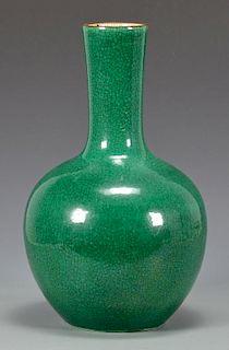 Chinese Green Monochrome Bottle Vase