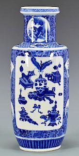 Chinese Blue & White Rouleau Vase