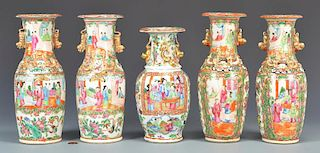 5 Rose Mandarin Garniture Vases