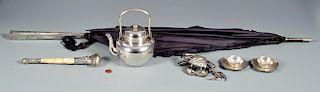 6 Asian Silver items inc Tea Pot with Presentation Inscription
