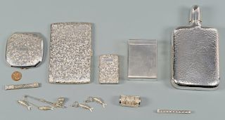 Asian .950 Silver Flask, Smoking and Accessory items