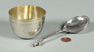 17th c. Silver Cup, Anointing Spoon