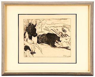 """Paul Gauguin, """"Les Laveuses""""-1889, Lithograph"""