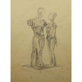 Giorgio De Chirico  (1888 - 1978) Pencil/Paper