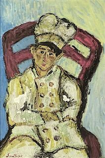 """attributed to: Chaïm Soutine, Belarusian (1893-1943) Gouache on Board """"Pastry Chef"""" Signed Lower Left Soutine. Good Condition. Measures 11 Inches by"""