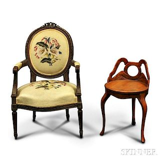 Louis XVI-style Needlepoint-upholstered Carved Fauteuil and an Oak Stool