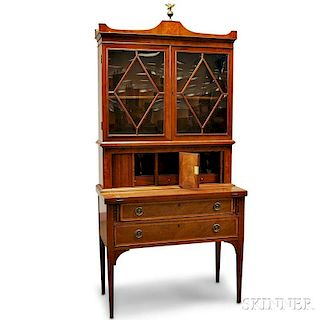 Federal-style Inlaid Mahogany Glazed Desk/Bookcase