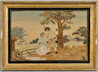 George III Watercolor and Silk Embroidered Scene