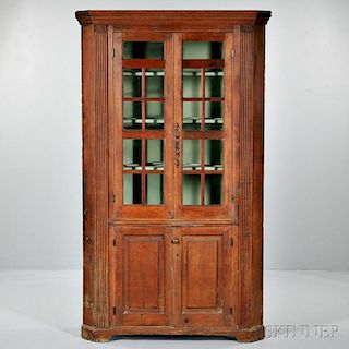 Carved Pine Glazed Corner Cupboard