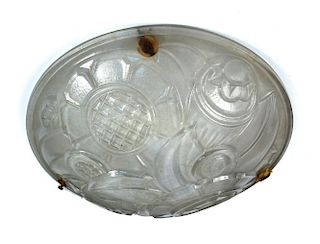 An Art Deco Muller Freres moulded glass plafonnier, the frosted glass bowl with stylised flowers and