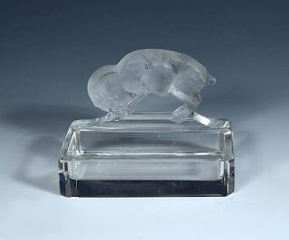 Chevre, a René Lalique glass ashtray, the rectangular dish with canted corners, the goat with traces
