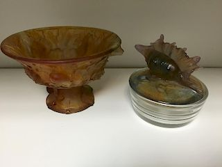 A modern Daum pate de verre amber glass bowl decorated with leaves, etched signature, together with