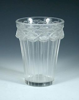 Bouton d'Or, a René Lalique glass vase, the flaring cylindrical body moulded in relief with band of
