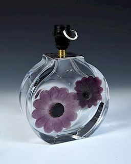 A Daum Coppelia pattern pate de verre glass table lamp base, the circular glass body with inset pate