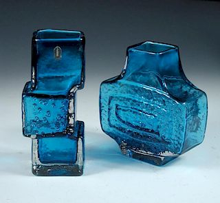 A Whitefriars drunken bricklayer vase and a TV vase, each in Kingfisher Blue (2) <br>