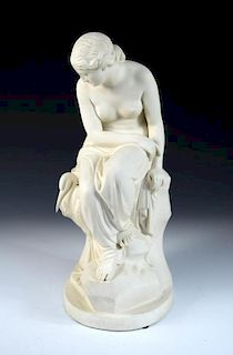 A Minton Parian figure of 'Solitude' issued by the Art Union of London, depicting Solitude modelled