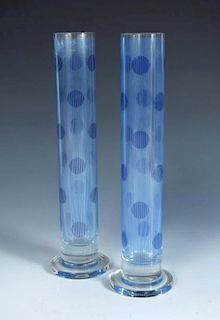 Riccardo Forti for Egizia HWC (Handle With Care), a pair of Sottsass Associati glass vases, with sil