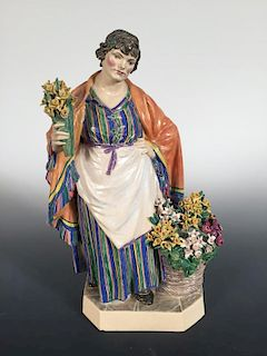 Charles Vyse, The Daffodil Woman, 1924, artist monogram with `Chelsea 1924' to underside 26cm (10in)