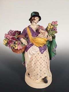 Charles Vyse, The Tulip Woman, 1921, artist monogram with `Chelsea 1921' to underside 26cm (10in) <b