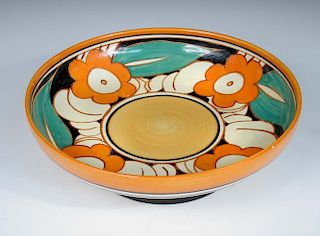A Clarice Cliff Floreat pattern fruit bowl, the circular bowl raised on a spreading circular foot, p