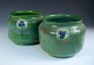 A pair of Moorcroft Flamminian ware jardinieres for Liberty & Co., each of rounded ovoid form, with