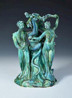 Dina Kuhn for Friedrich Goldscheider, a rare figure group of Adam & Eve, circa 1925, the pair stand