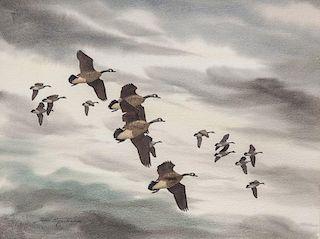 David Hagerbaumer (1921-2014) Canada Geese in Flight