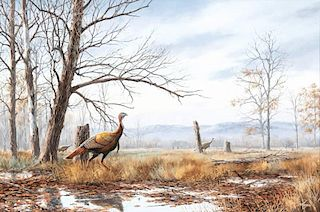 David A. Maass (b. 1929) Cautious Trio - Turkeys